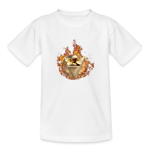 Planet + Feuerring, Feuerengel auf opt. Täuschung - Teenager T-Shirt