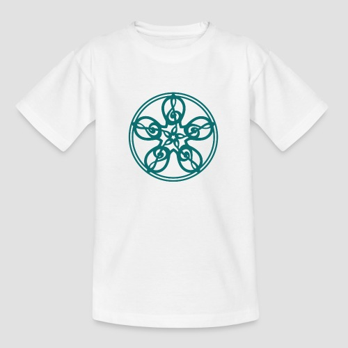 Treble Clef Mandala (teal) - Teenage T-Shirt
