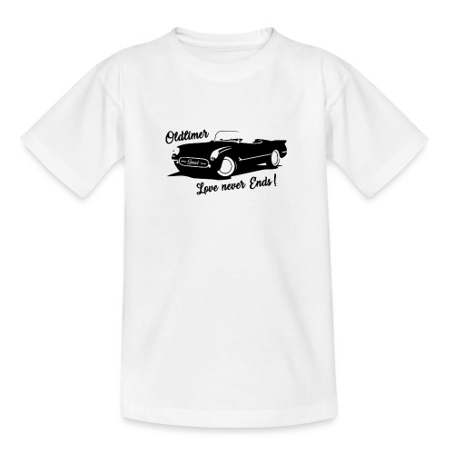 Oldtimer Love never Ends! schwarz - Teenager T-Shirt