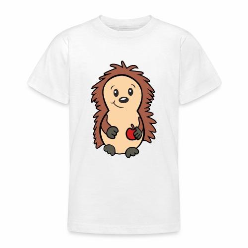 Igel mit Apfel in der Hand - Teenager T-Shirt