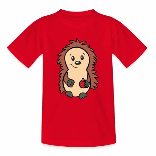 Igel mit Apfel in der Hand - Teenager T-Shirt