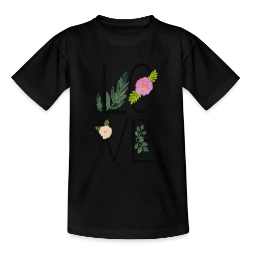 Love Sign with flowers - Teenage T-Shirt