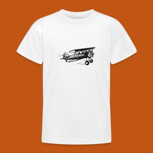 Flieger / Airplane 01_schwarz - Teenager T-Shirt