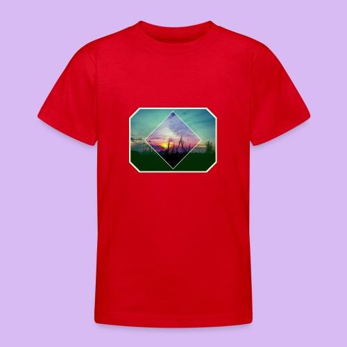 Tramonto in risalto tra figure geometriche - Maglietta per ragazzi