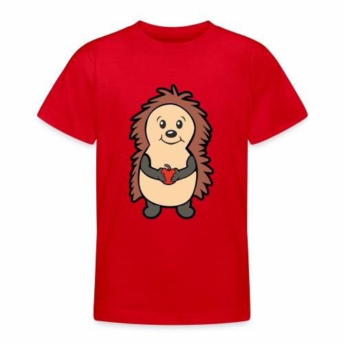 Igel mit Apfel in den Händen - Teenager T-Shirt