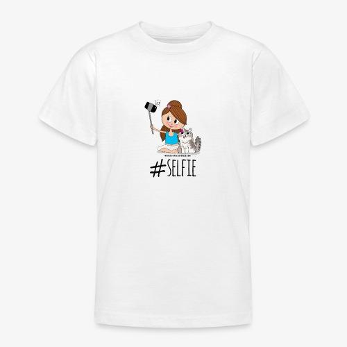 Chica y gato haciéndose foto - Camiseta adolescente