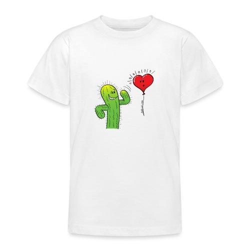 Cactus Flirting with a Heart Balloon - Teenage T-Shirt