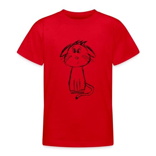 Kissa Kissanpentu musta scribblesirii - Nuorten t-paita