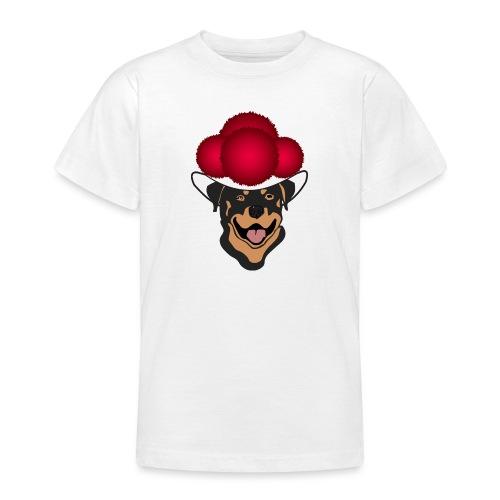 Rottweiler mit rotem Bollenhut - Teenager T-Shirt