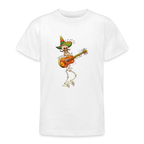 Mexican Skeleton Playing Guitar - Teenage T-Shirt