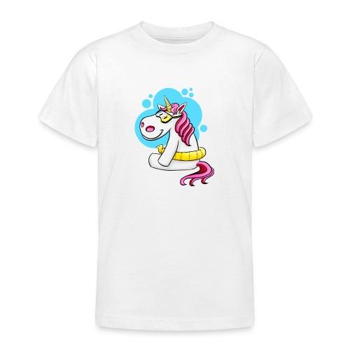 Einhorn mit Schwimmring - Teenager T-Shirt