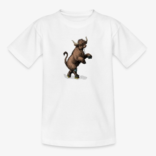 Highland Cow on roller skates - Teenage T-Shirt