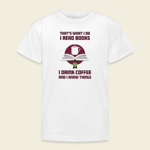 Buch und Kaffee, dunkel - Teenager T-Shirt