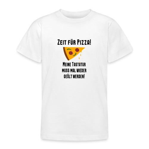 Pizza Essen Tastatur Computer Freak Nerd Spruch - Teenager T-Shirt