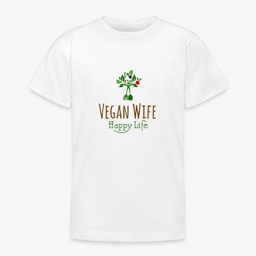 VEGAN WIFE Happy Life - T-shirt Ado