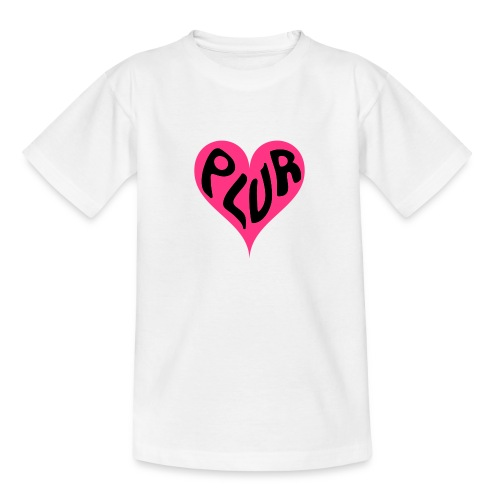 PLUR - Peace Love Unity and Respect love heart - Teenage T-Shirt