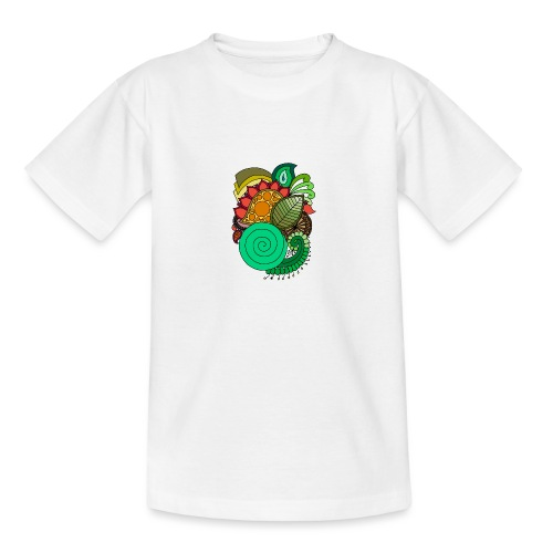 Coloured Leaf Mandala - Teenage T-Shirt