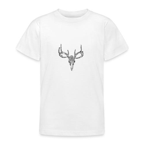 Deer skull with rose - Nuorten t-paita