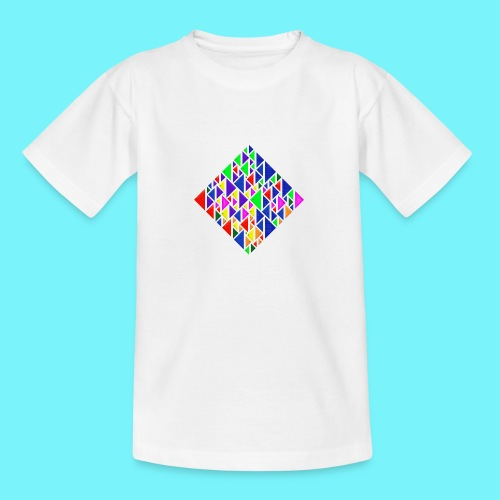 A square school of triangular coloured fish - Teenage T-Shirt