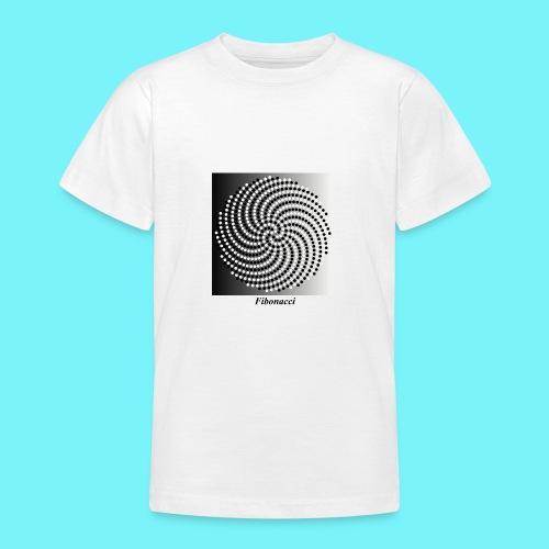 Fibonacci spiral pattern in black and white - Teenage T-Shirt
