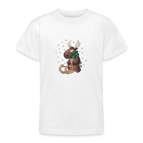 Elch - Kuschelelch mit Schlitten - Teenager T-Shirt