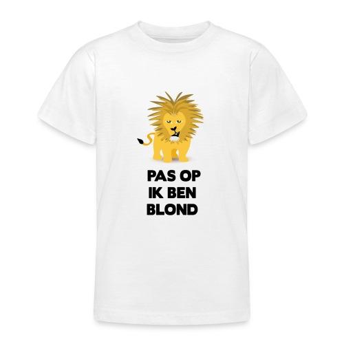 Pas op ik ben blond een cartoon van blonde leeuw - Teenager T-shirt