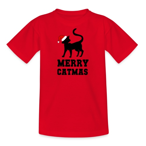 Merry Catmas - Silhouette - Teenager T-Shirt