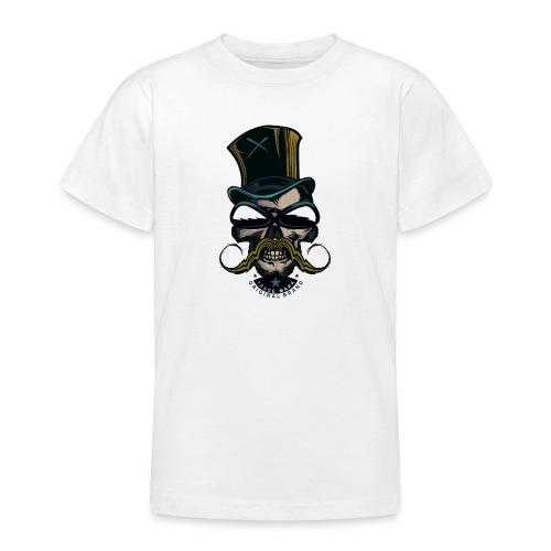 tete de mort hipster crane logo skull moustachu m - T-shirt Ado