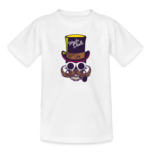 tete de mort crane skull moustache logo pipe lunet - T-shirt Ado
