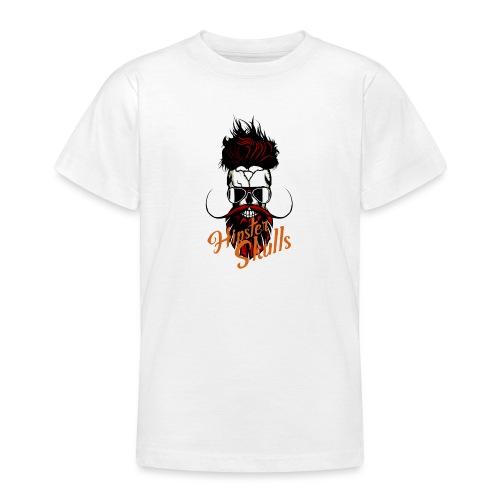 tete de mort hipster skull logo crane barbu barbe - T-shirt Ado
