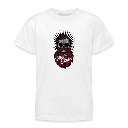 tete de mort hipster skull moustache barbe logo ba - T-shirt Ado