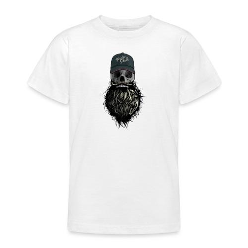 tete de mort hipster casquette logo skull barbu cr - T-shirt Ado
