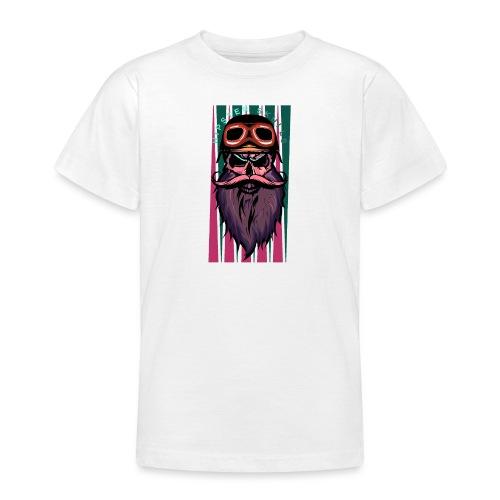 tete de mort hipster crane slull barbe moustache p - T-shirt Ado