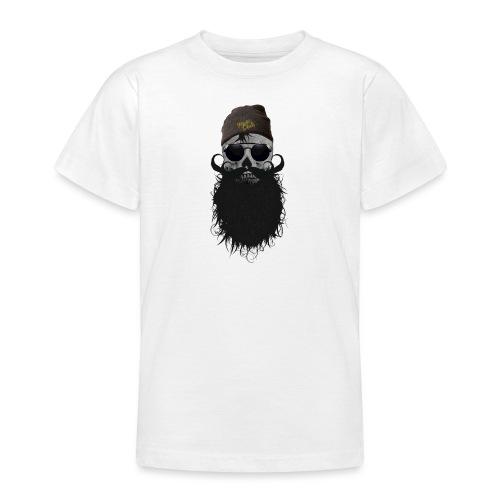 hipster skulls tete de mort crane bonnet moustache - T-shirt Ado