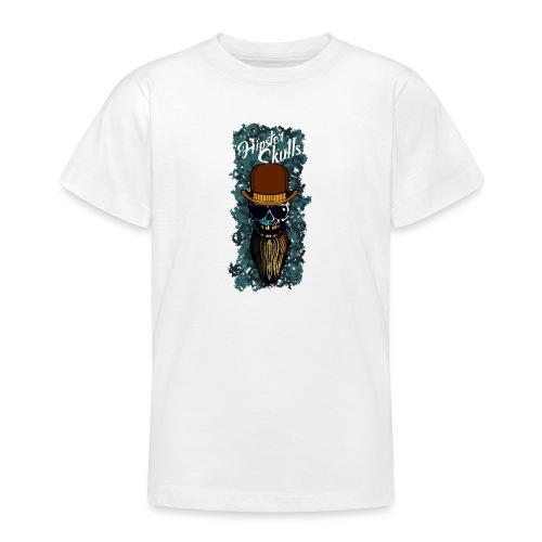 tete de mort hipster skull barbu chapeau melon cra - T-shirt Ado