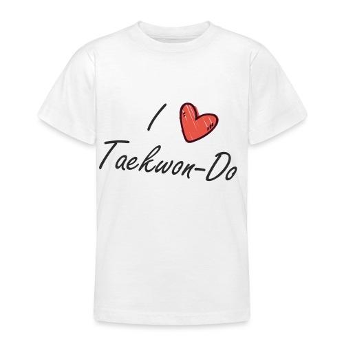 I love taekwondo letras negras - Camiseta adolescente