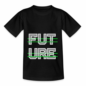 Future Clothing - Green Strips (White Text) - Teenage T-shirt