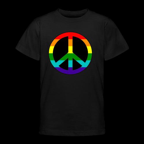 Gay pride peace symbool in regenboog kleuren - Teenager T-shirt