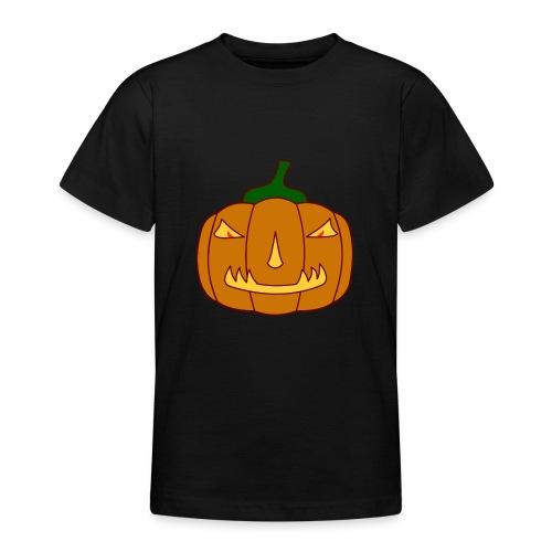 Halloween Kürbis mit Gruselgesicht - Teenager T-Shirt