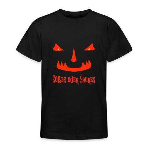 Halloween Süßes oder Saures mit Monstergesicht - Teenager T-Shirt