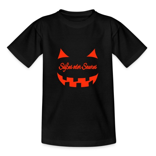 Halloween Süßes oder Saures mit Gruselgesicht - Teenager T-Shirt