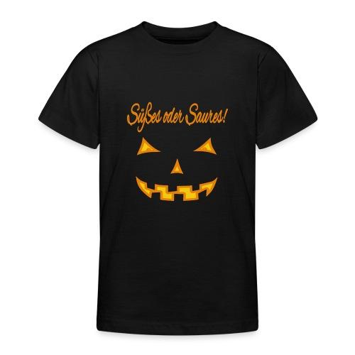 Süßes oder Saures mit Kürbisgesicht - Teenager T-Shirt