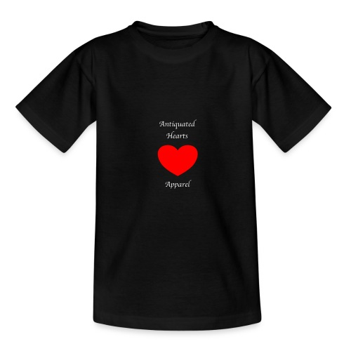 Antiquated Hearts Gothic White Lettering - Teenage T-Shirt