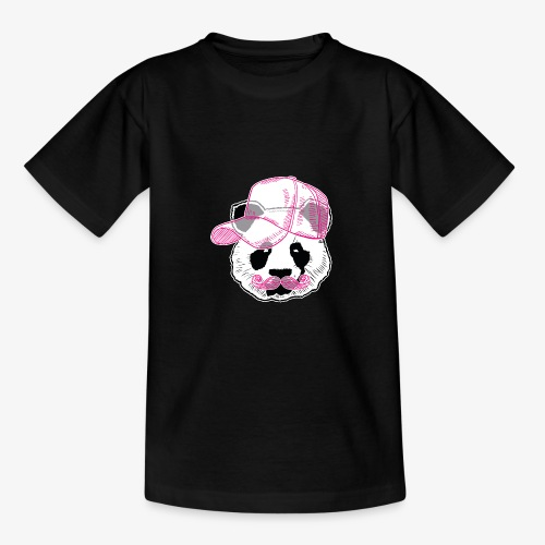 Panda - Pink - Cap - Mustache - Teenager T-Shirt
