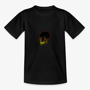 Funky red and yellow neon skull - Teenage T-shirt