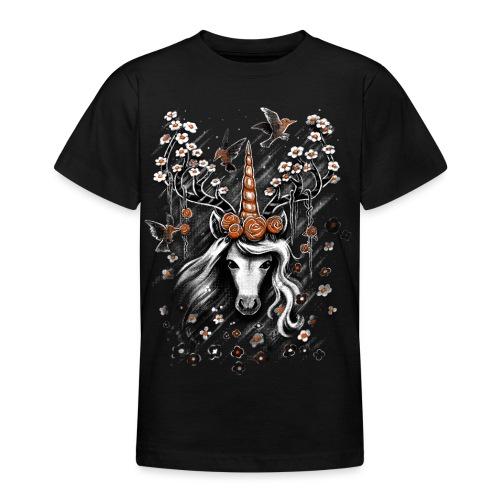 Deer Unicorn Flowers - Teenage T-Shirt