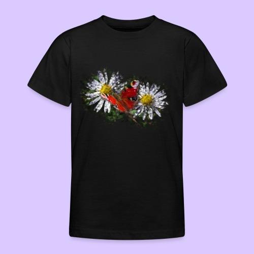 zwei Gänseblümchen mit einem Schmetterling - Teenager T-Shirt