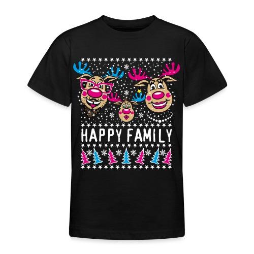 95 Rentier Rudolph HAPPY FAMILY Papa Mama Kind - Teenager T-Shirt