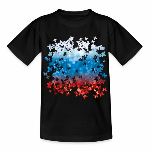 06 Russland Flagge Fahne Russia Schmetterlinge - Teenager T-Shirt