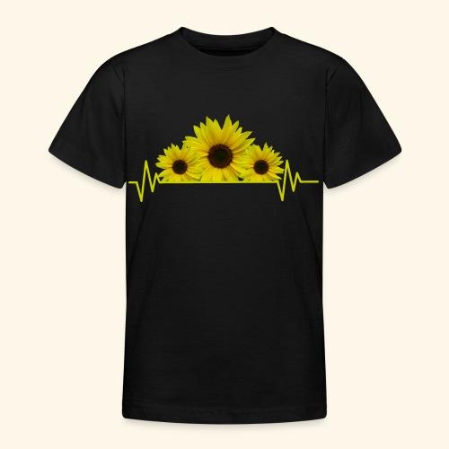 Sonnenblumen Herzschlag Sonnenblume Blumen Blüten - Teenager T-Shirt